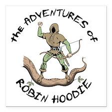 "robin-hoodie-LTT Square Car Magnet 3"" x 3"""
