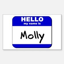 hello my name is molly Rectangle Decal