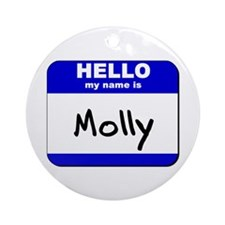 hello my name is molly  Ornament (Round)