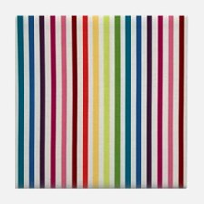 Rainbow Skinny Stripes Tile Coaster