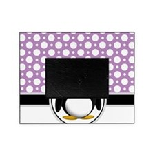Cute Penguin Purple Polka Dot Picture Frame