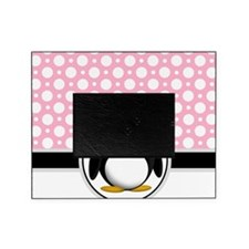 Cute Penguin Pink Polka Dot Picture Frame