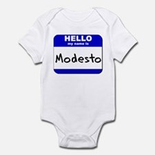hello my name is modesto  Infant Bodysuit