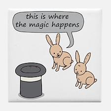 Rabbits and Magic Tile Coaster