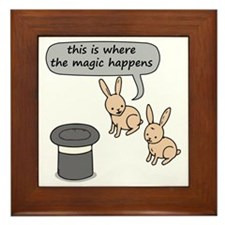 Rabbits and Magic Framed Tile