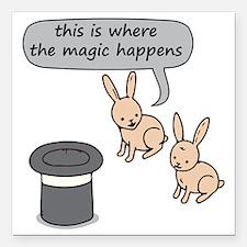 "Rabbits and Magic Square Car Magnet 3"" x 3"""