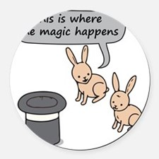 Rabbits and Magic Round Car Magnet