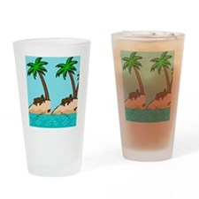 Chocolate Labrador Island Drinking Glass