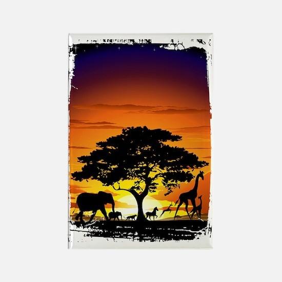 Wild Animals on African Savannah  Rectangle Magnet