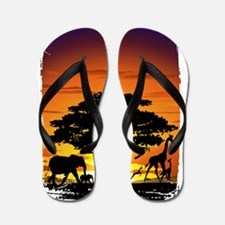 Wild Animals on African Savannah Sunset Flip Flops
