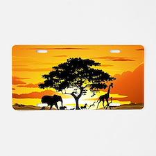 Wild Animals on African Sav Aluminum License Plate