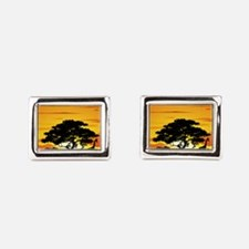 Wild Animals on African Savannah Sunset Cufflinks