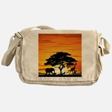 Wild Animals on African Savannah Sun Messenger Bag