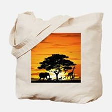 Wild Animals on African Savannah Sunset Tote Bag