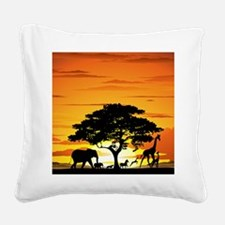 Wild Animals on African Savan Square Canvas Pillow