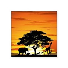 "Wild Animals on African Sav Square Sticker 3"" x 3"""