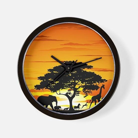 Wild Animals on African Savannah Sunset Wall Clock