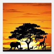 "Wild Animals on African  Square Car Magnet 3"" x 3"""