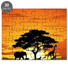 Wild Animals on African Savannah Sunset Puzzle