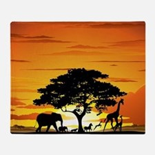 Wild Animals on African Savannah Sun Throw Blanket