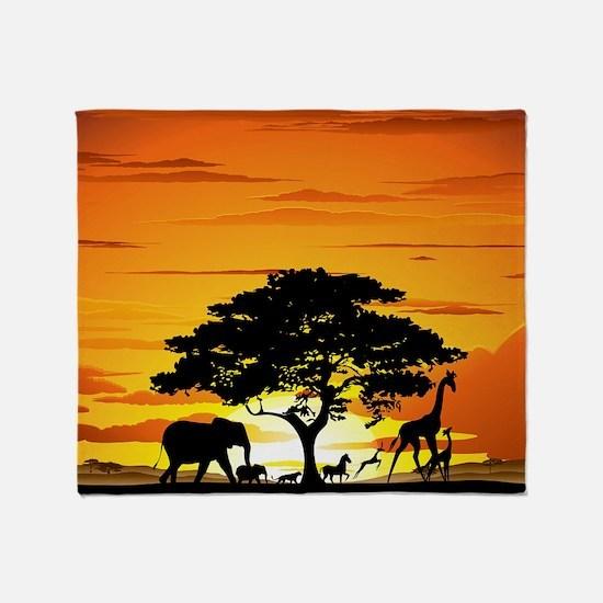 Wild Animals on African Savannah Sun Throw Blanket