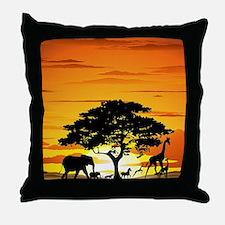 Wild Animals on African Savannah Suns Throw Pillow