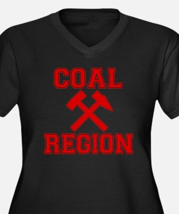 Coal Region  Women's Plus Size Dark V-Neck T-Shirt
