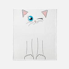 Cute Winking White Cat Cartoon Throw Blanket