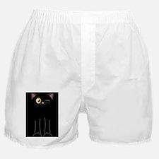 Cute Winking Cat Cartoon, Black with  Boxer Shorts