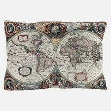 Old World Map 1630 Pillow Case