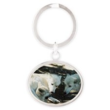"""""""Biting  His  Mother's  Leg"""" Oval Keychain"""