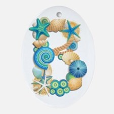 BEACH THEME INITIAL B Oval Ornament