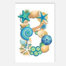 BEACH THEME INITIAL B Postcards (Package of 8)