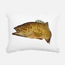 Smallmouth Bass Art Affe Rectangular Canvas Pillow