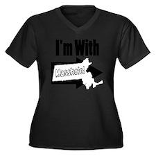 Im with Mass Women's Plus Size Dark V-Neck T-Shirt