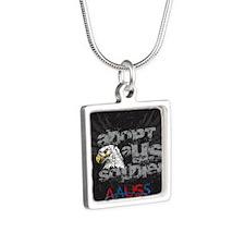 New Eagle Design Silver Square Necklace