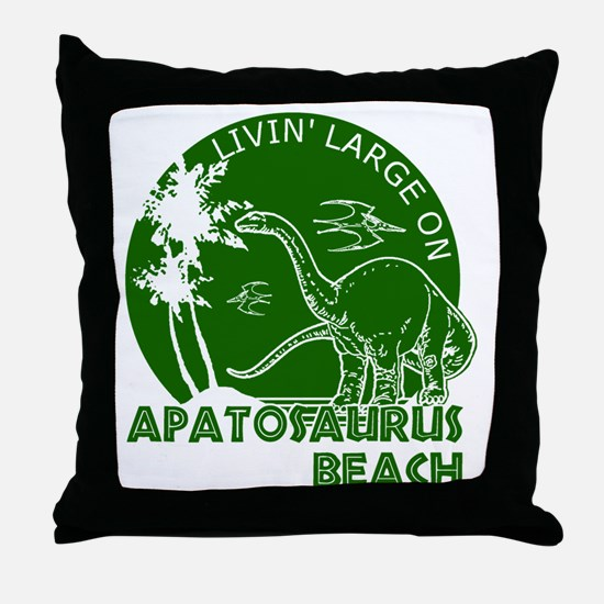 Dinosaur Apatosaurus Beach Throw Pillow