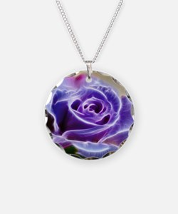 Purple Lighted Rose Necklace