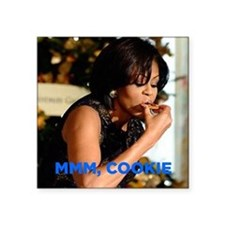 "Michelle Obama Cookie Jar Square Sticker 3"" x 3"""
