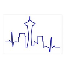 Seattle Heartbeat BLUE Postcards (Package of 8)