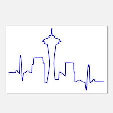Seattle Heartbeat BLUE Postcards (Package of 8)
