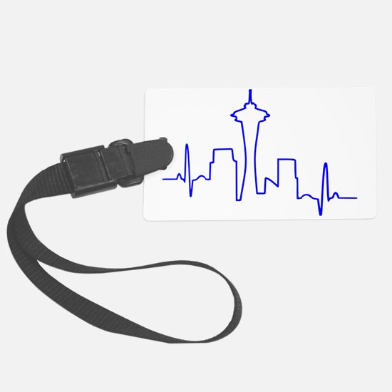 Seattle Heartbeat BLUE Luggage Tag