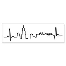 Chicago Heartbeat Letters Bumper Sticker