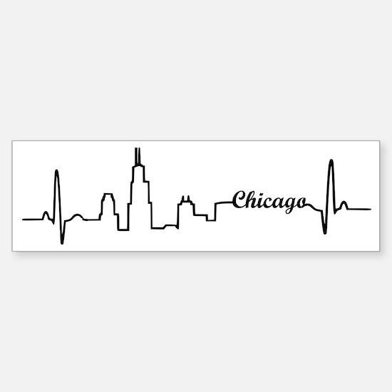 Chicago Heartbeat Letters Sticker (Bumper)