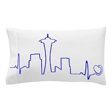 Seattle Heartbeat (Heart) BLUE Pillow Case