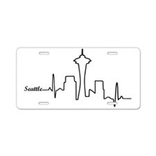 Seattle Heartbeat Letters Aluminum License Plate