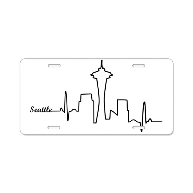 Seattle Heartbeat Letters Aluminum License Plate by ADMIN