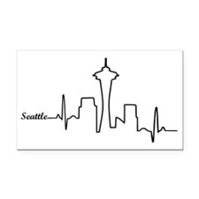 Seattle Heartbeat Letters Rectangle Car Magnet
