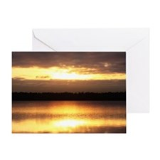 Morning Sunburst Over A Wooded Lake Greeting Card
