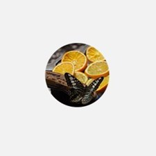 Butterfly and Orange Slices Mini Button